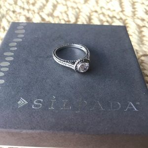 Silpada Silver and Cubic Zirconia Ring size 9